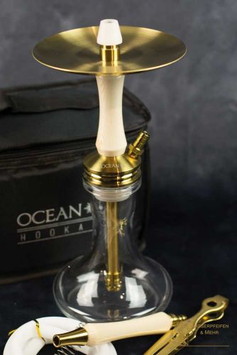 "Ocean Hookah Kaif S ""Small"" Gold White Wood"